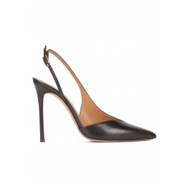 Black leather asymmetric heeled slingback pumps Pura López