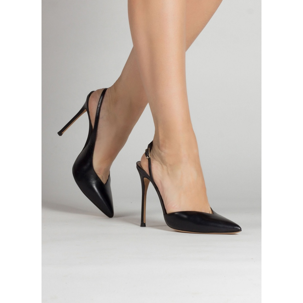 Black leather asymmetric heeled slingback pumps
