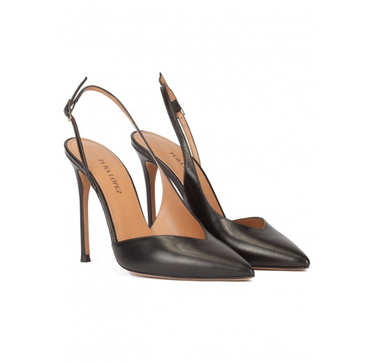 Black leather asymmetric heeled slingback pumps Pura L�pez