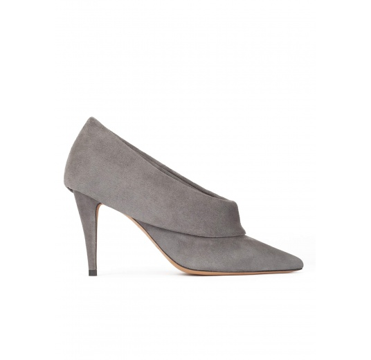 Grey suede high heel shoes with folded panels Pura L�pez