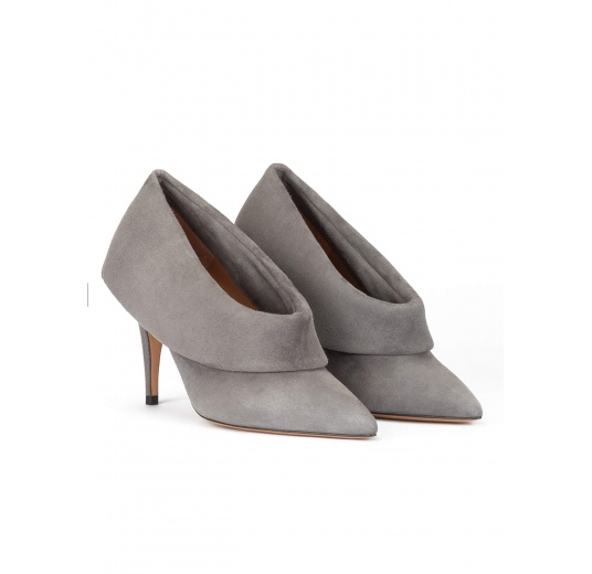 Grey suede high heel shoes with folded panels Pura López