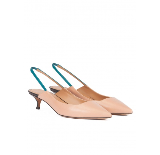 Slingback low heel pumps in nude leather Pura L�pez