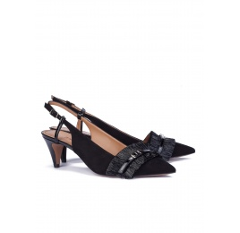 Black fringed slingback pumps Pura López