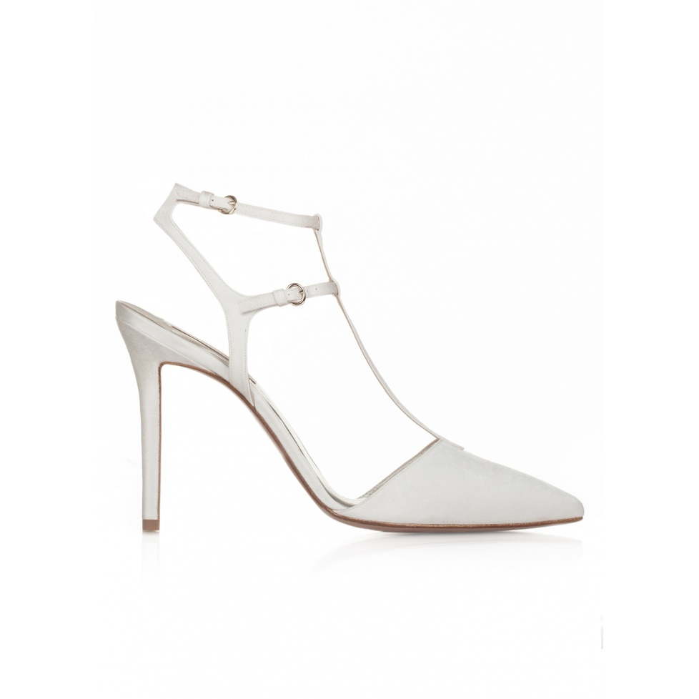 High heel pointy toe wedding shoes in offwhite satin