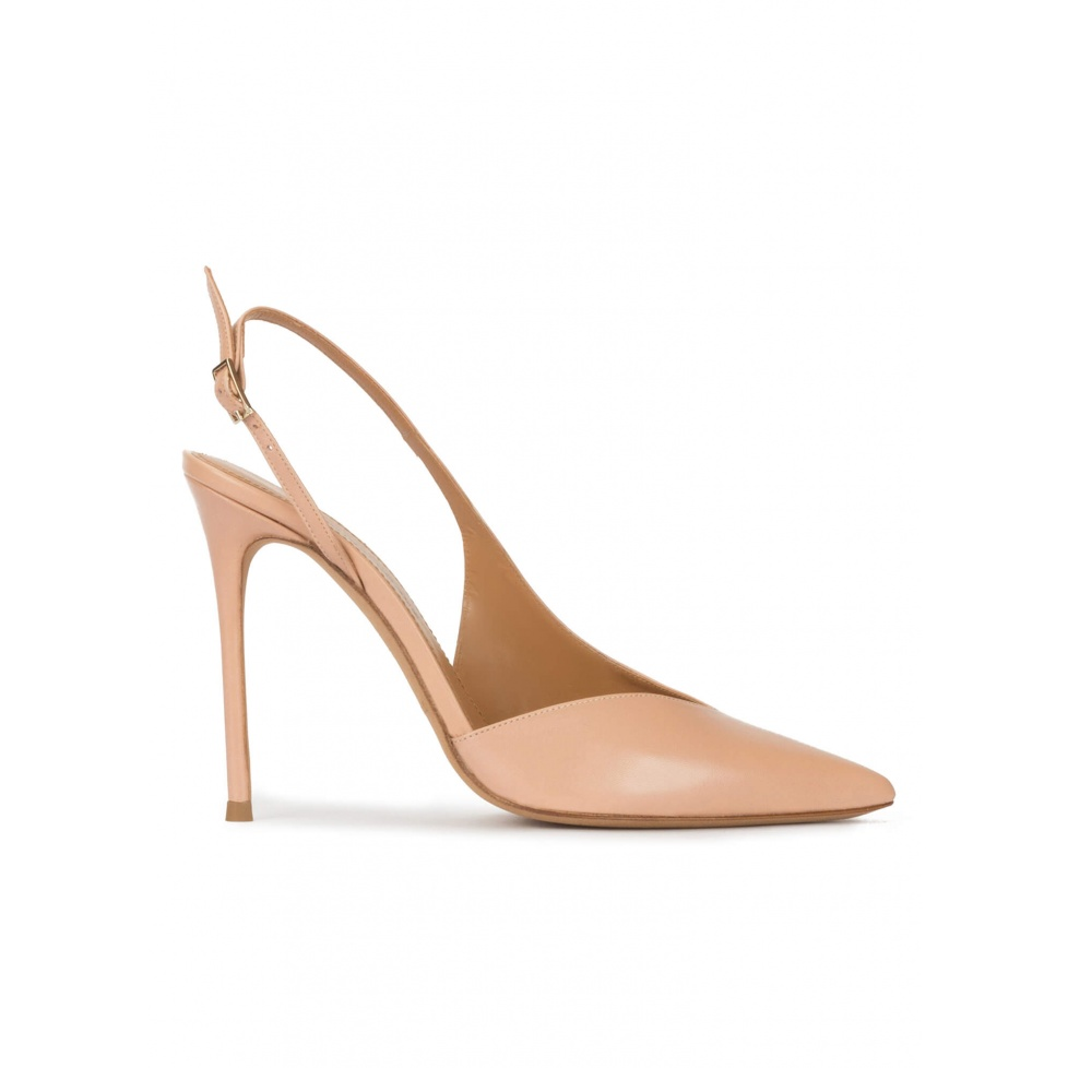 Nude leather asymmetric heeled slingback pumps