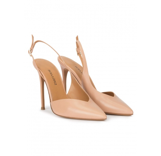 Nude leather asymmetric heeled slingback pumps Pura López