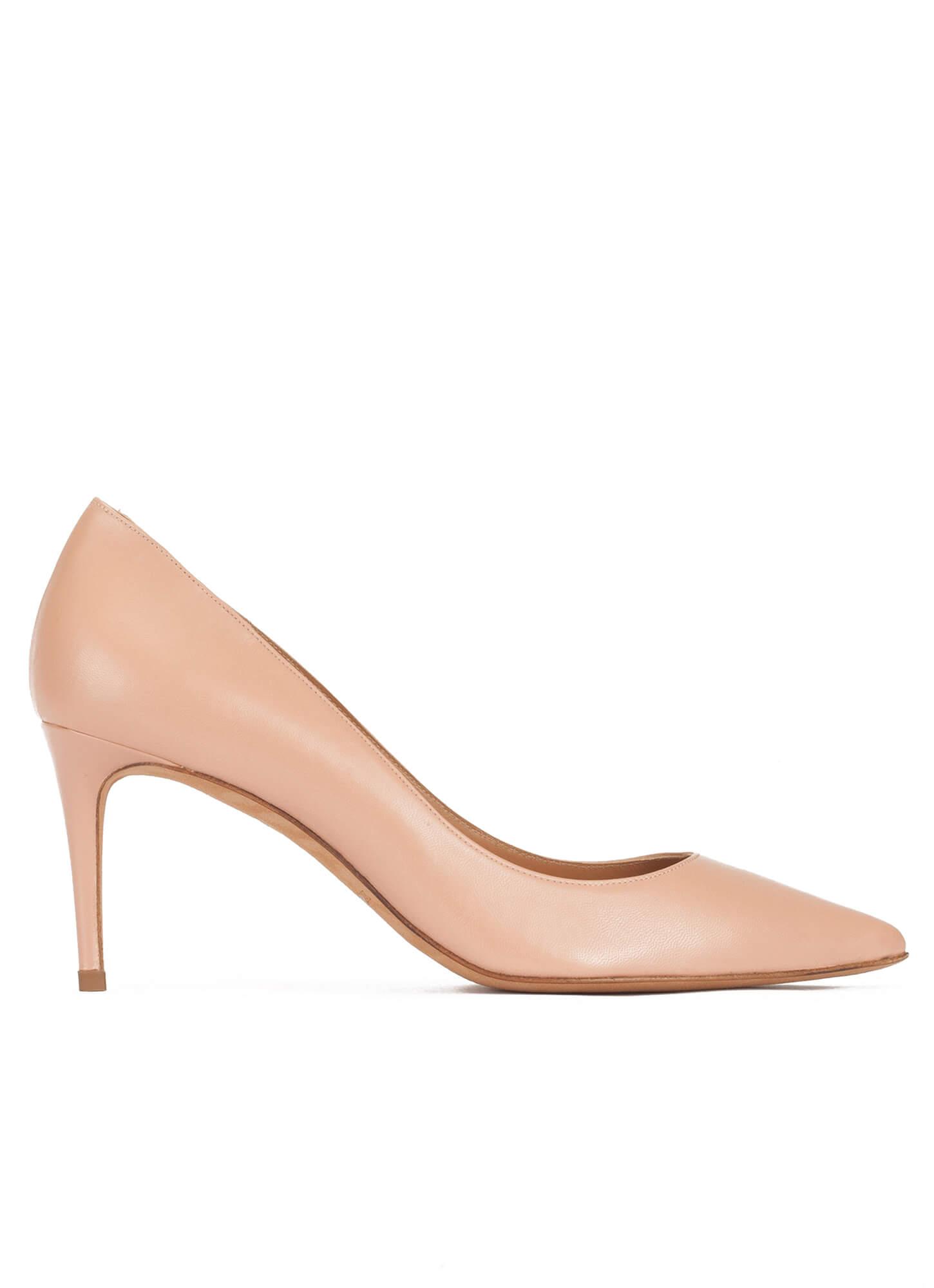 b2a473c92dbf Oana Pura López. Mid heel sharp point-toe pumps in nude leather ...