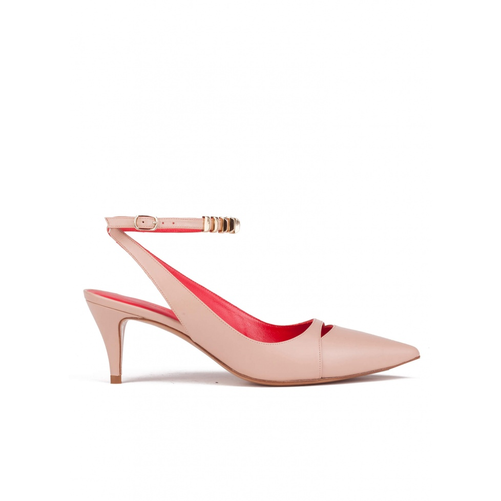 Mid heel shoes in nude leather
