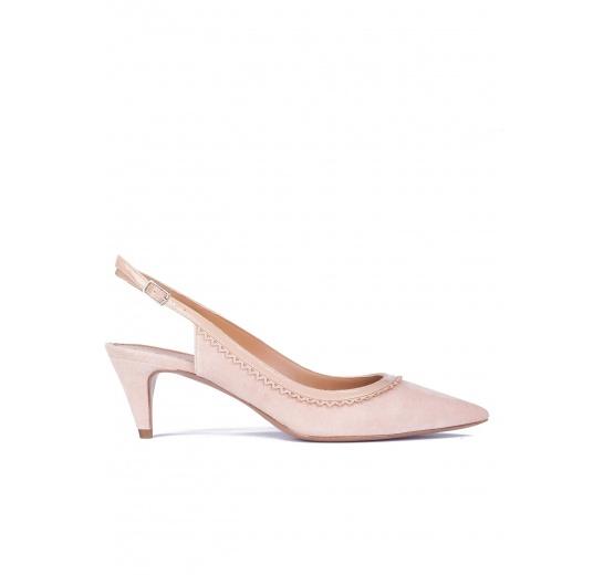 Zapatos nude destalonados de medio tacón Pura L�pez