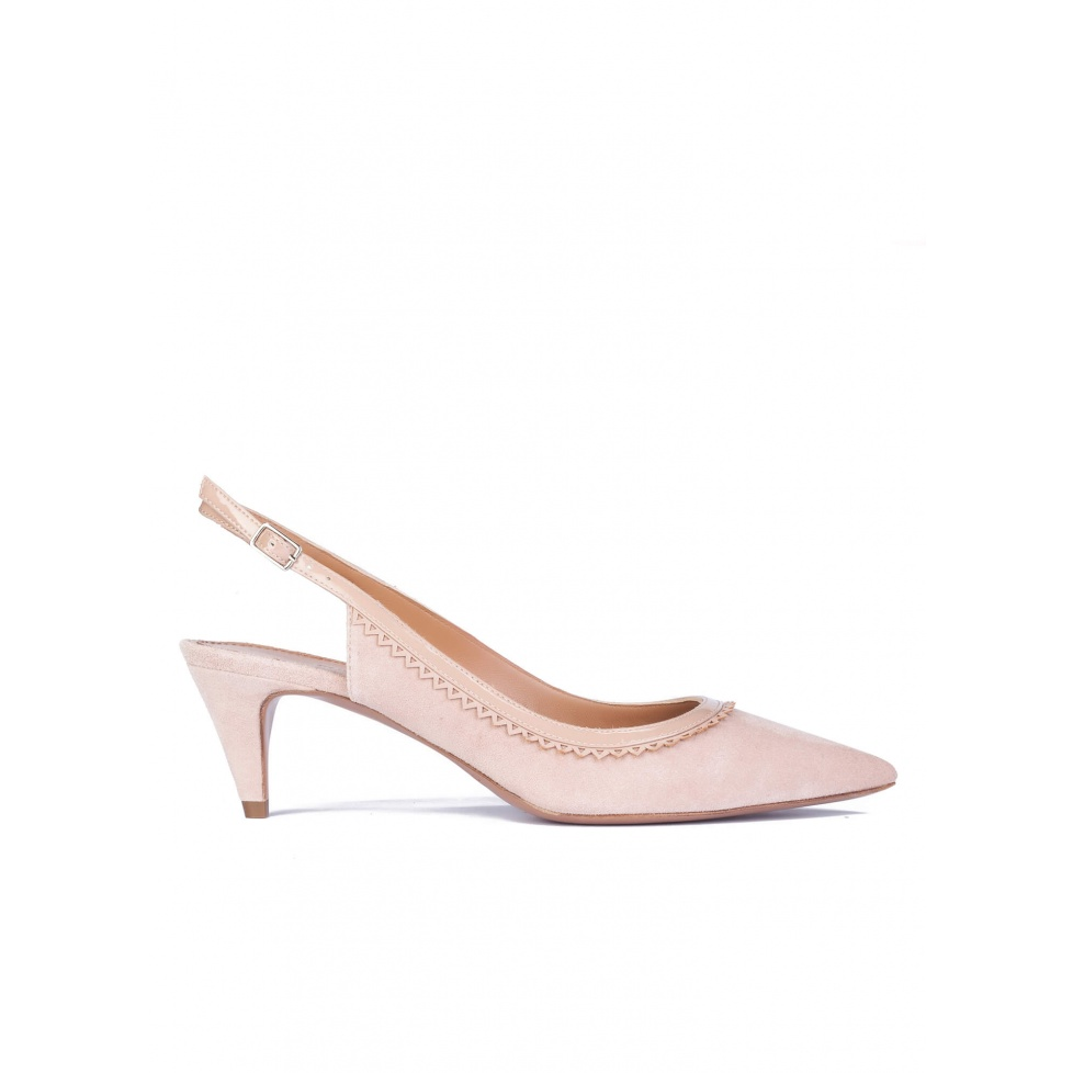 Nude mid-heel scalloped slingback pumps
