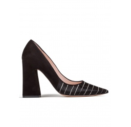 High block heel pumps in black pinstripe Pura López