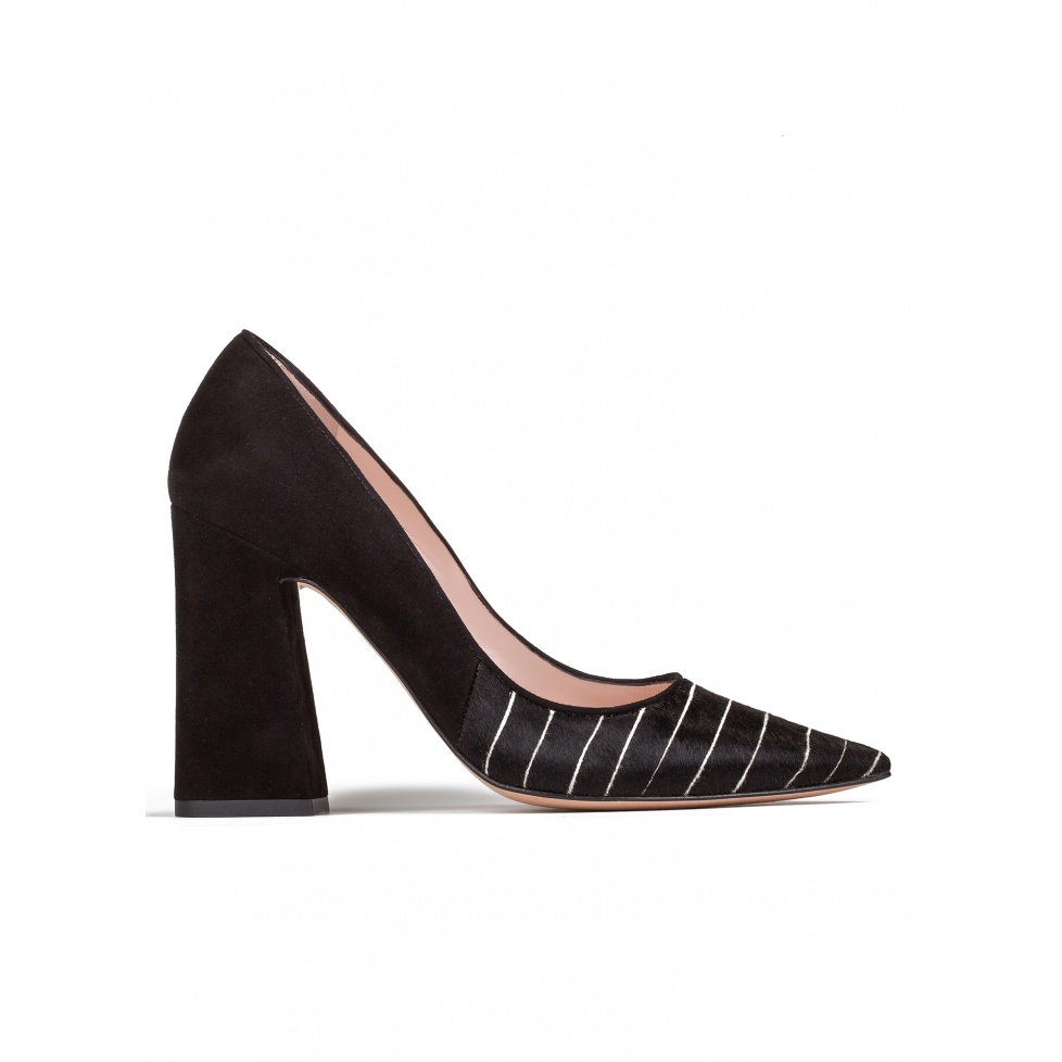 High block heel pumps in black pinstripe