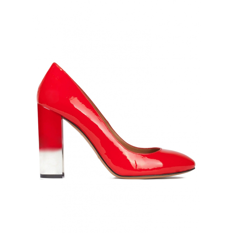 Red patent leather high block heel pumps