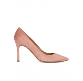 High heel point-toe pumps in old rose suede Pura López