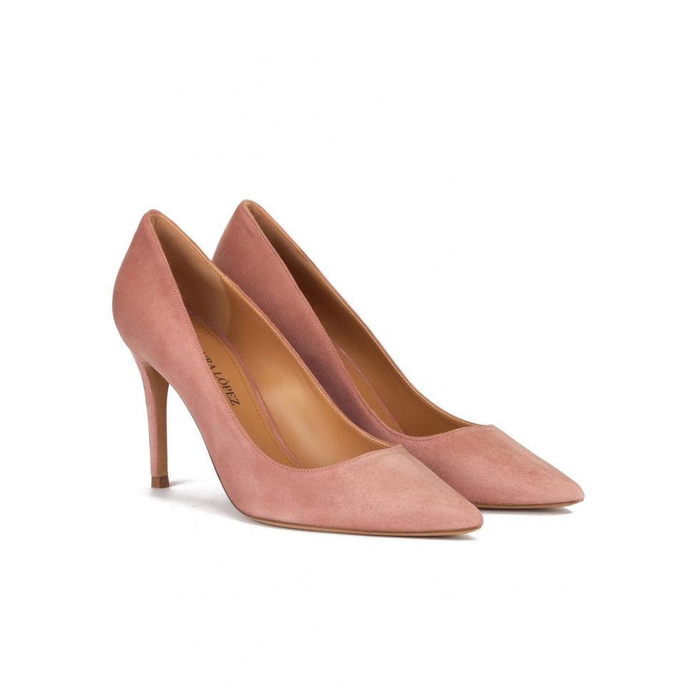 Zapatos de tacón alto y punta fina en ante rosa antik