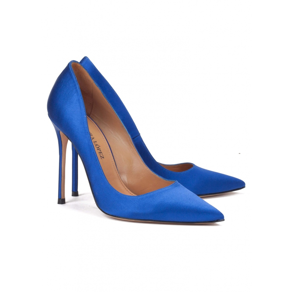 High heel pumps in blue satin - online shoe store Pura Lopez