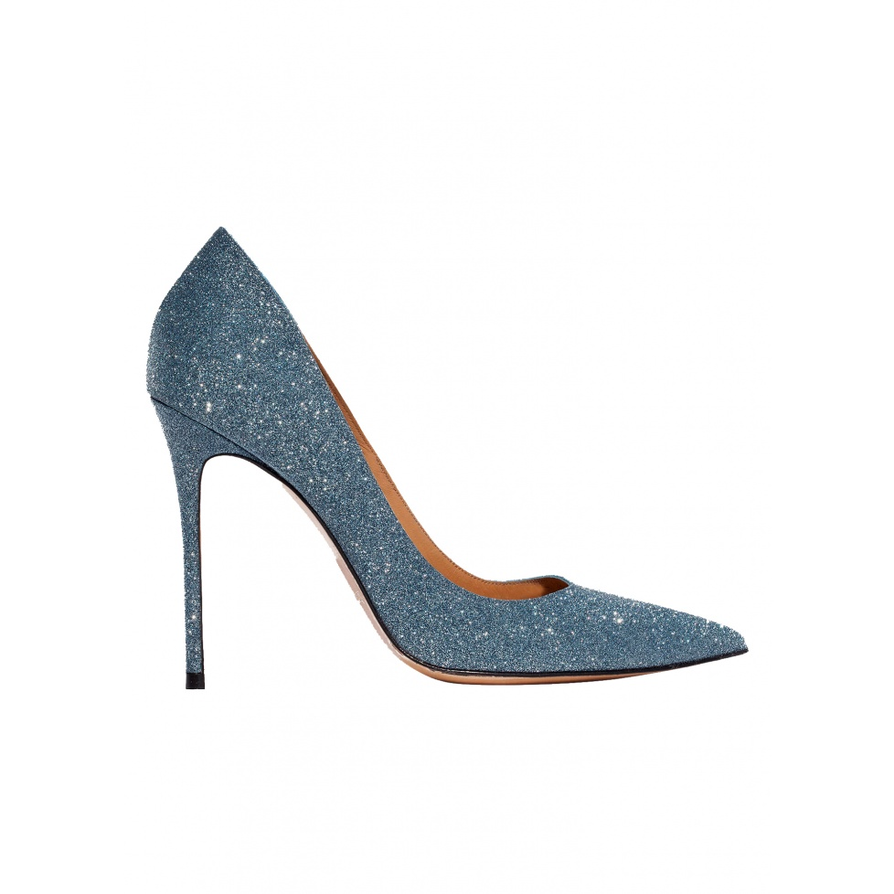 High heel pumps in blue glitter