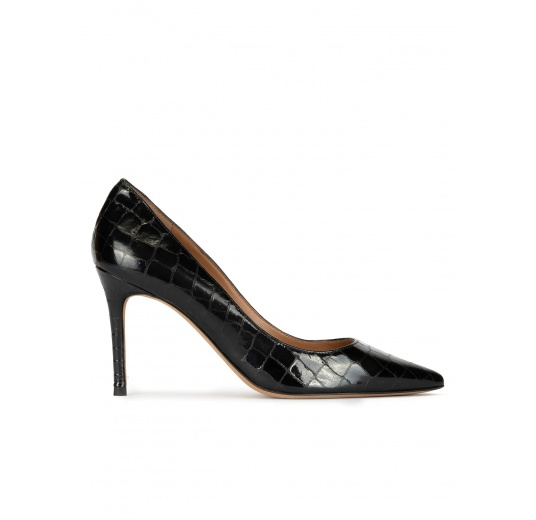 Point-toe heeled pumps in black croco-effect leather Pura López