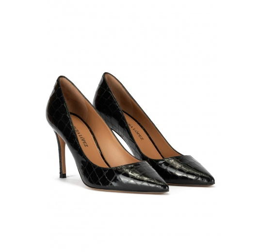 Point-toe heeled pumps in black croco-effect leather Pura L�pez