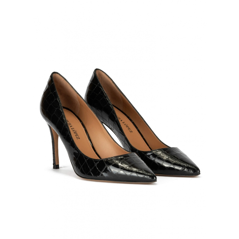 Point-toe heeled pumps in black croco-effect leather