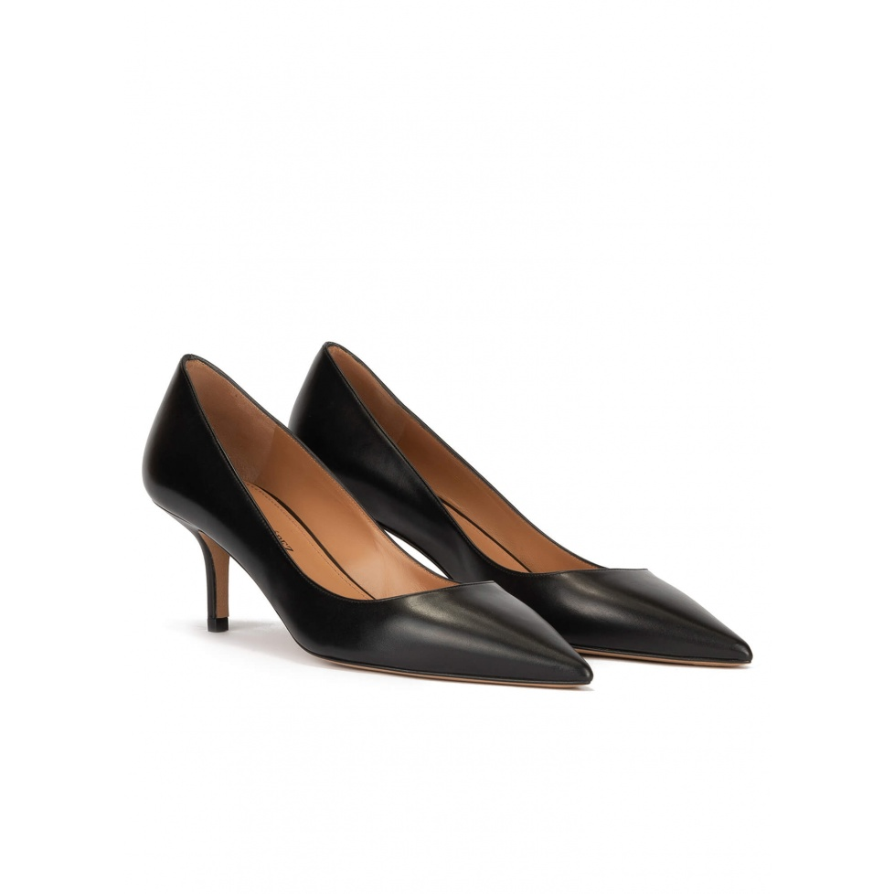 Mid heel pumps in black calf leather