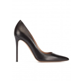 Black leather thin stiletto heel pumps with sleek pointed toe Pura López
