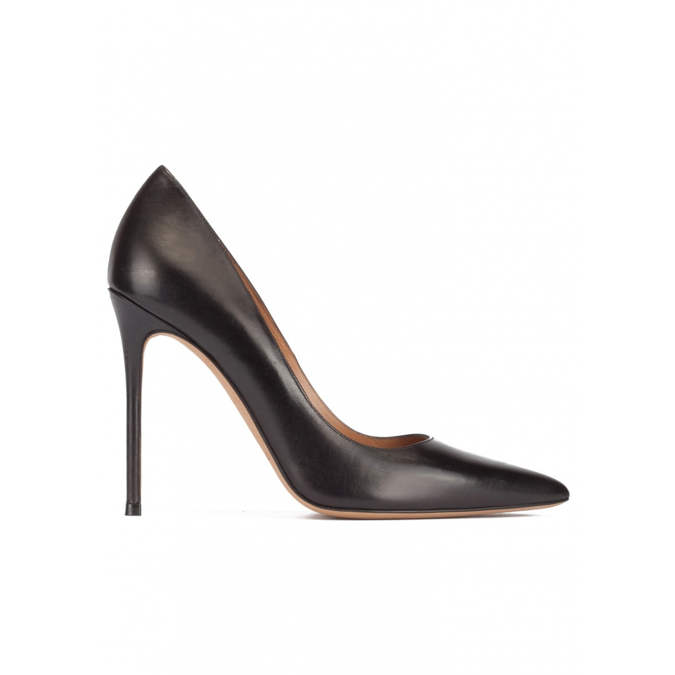Black leather thin stiletto heel pumps with sleek pointed toe