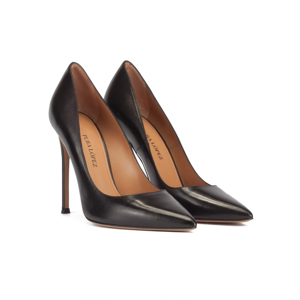 Black thin stiletto heel pumps with sleek pointed toe