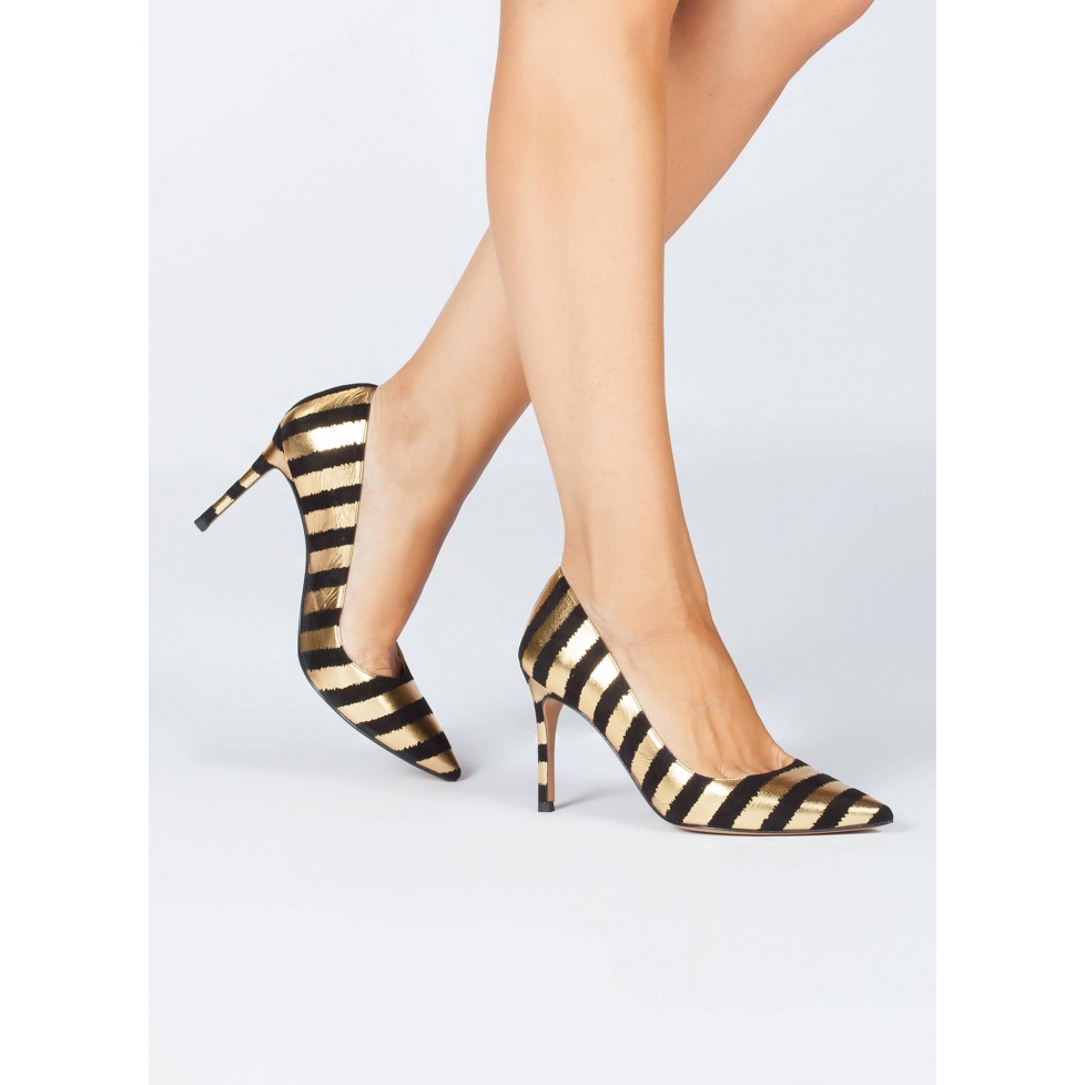 Striped high heel pumps - online shoe store Pura Lopez