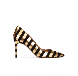 Striped pointy toe pumps in black and gold suede Pura López