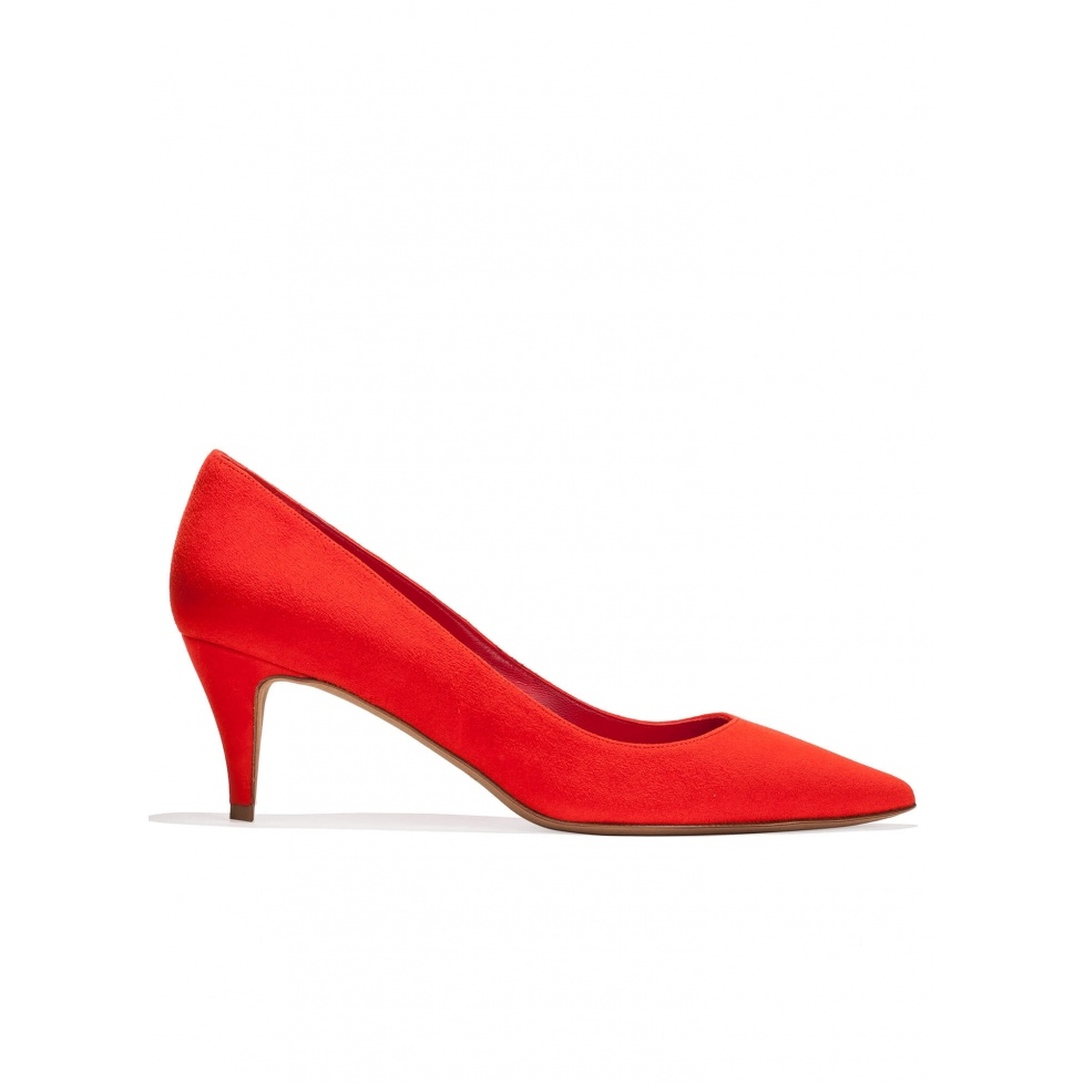 Zapatos de salón de medio tacón en ante rojo