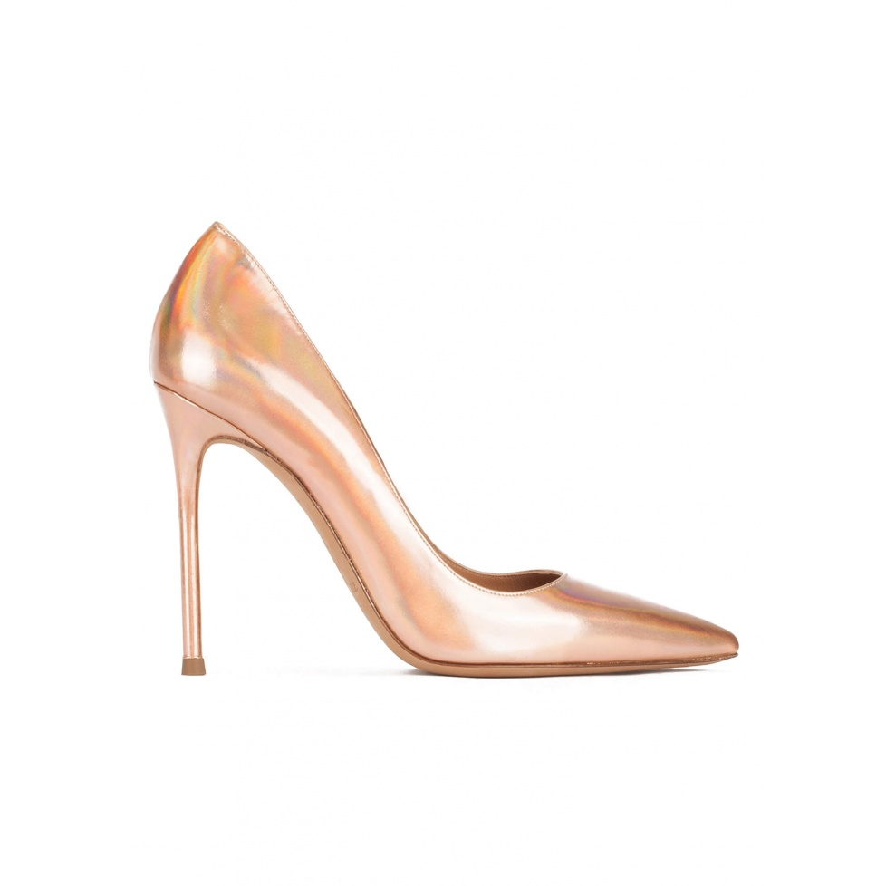 High heel pointy toe pumps in rose gold mirrored leather