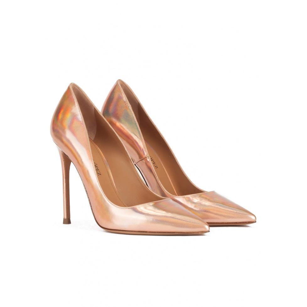 High heel pointy toe pumps in rose gold mirrored fabric