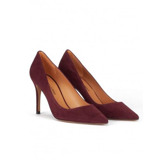 Burgundy suede classic heel pumps Pura L�pez