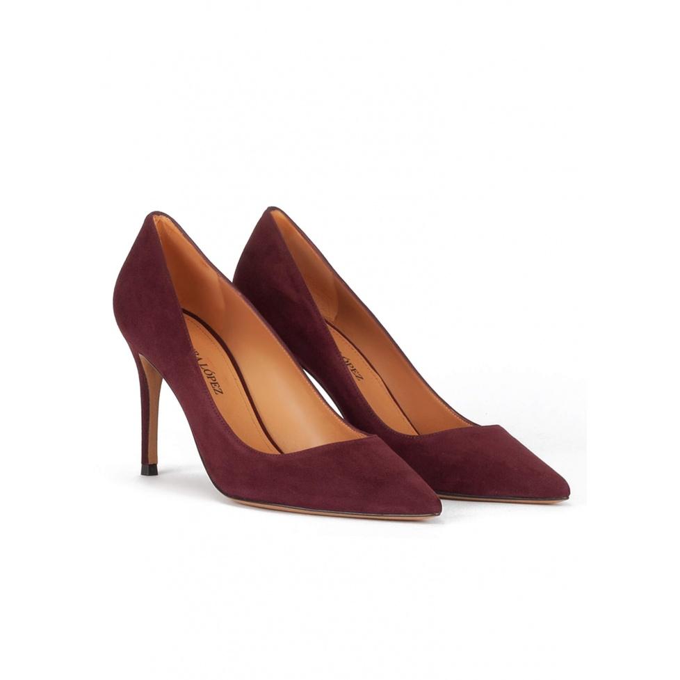 Burgundy suede classic heel pumps