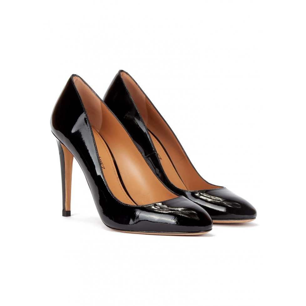 High stiletto heel pumps in black patent leather