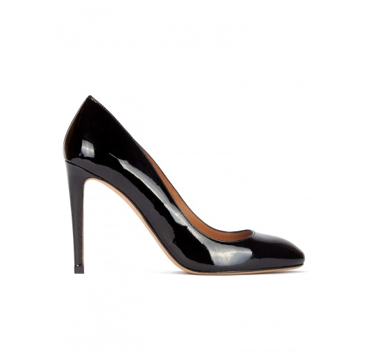 High stiletto heel pumps in black patent leather Pura López