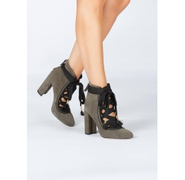 Khaki green suede lace-up high block heel shoes Pura López