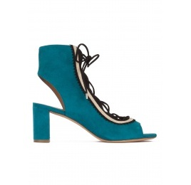Lace-up mid block heel sandals in petrol blue suede Pura López