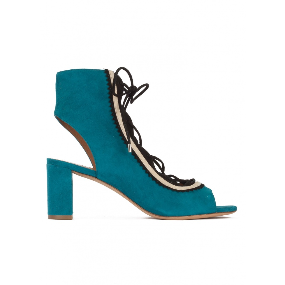 Lace-up mid block heel sandals in petrol blue suede