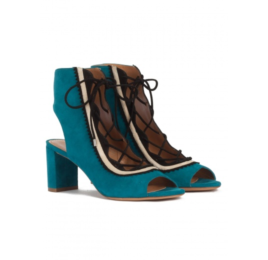 Lace-up mid block heel sandals in petrol blue suede Pura L�pez