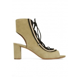 Lace-up mid block heel sandals in khaki and black suede Pura López