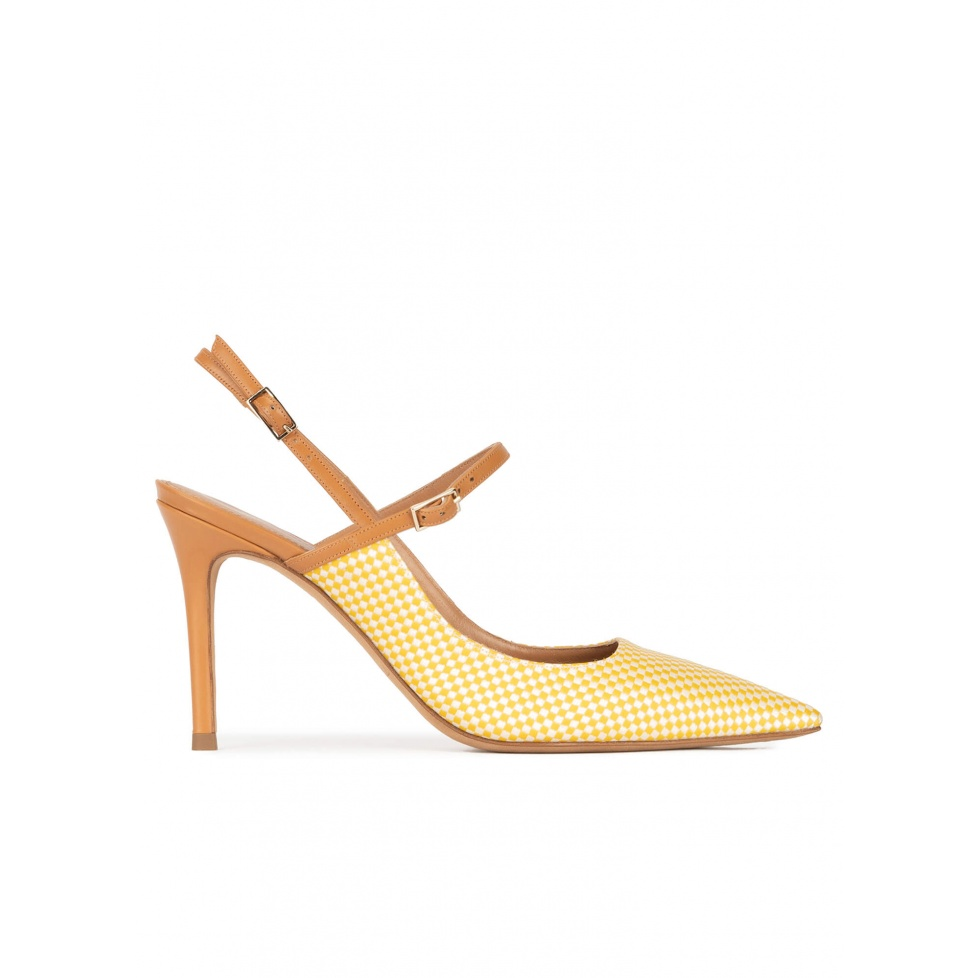 Yellow slingback high heel pumps in checked fabric