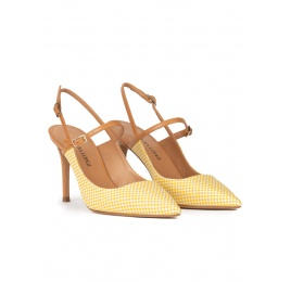 Yellow slingback high heel pumps in checked fabric Pura López