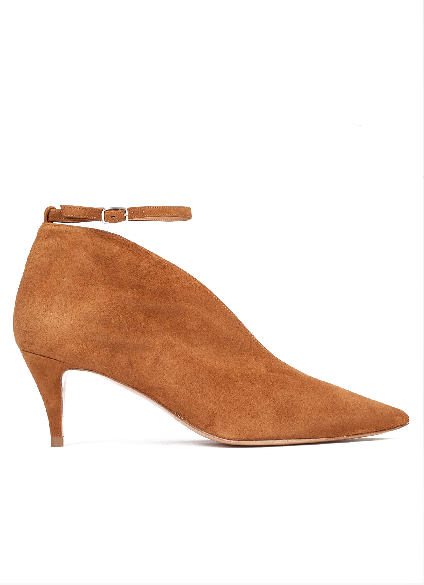 4cee0da6b9f5 Ankle strap mid heel shoes in chestnut suede Chestnut ankle strap mid heel  pumps - online shoe store Pura Lopez Latisha ...