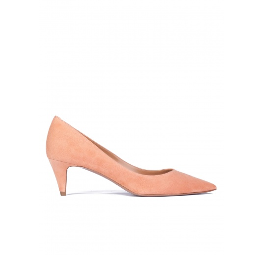 Old rose suede point-toe pumps Pura L�pez