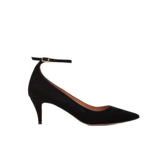 Ankle strap mid heel pumps in black suede Pura L�pez