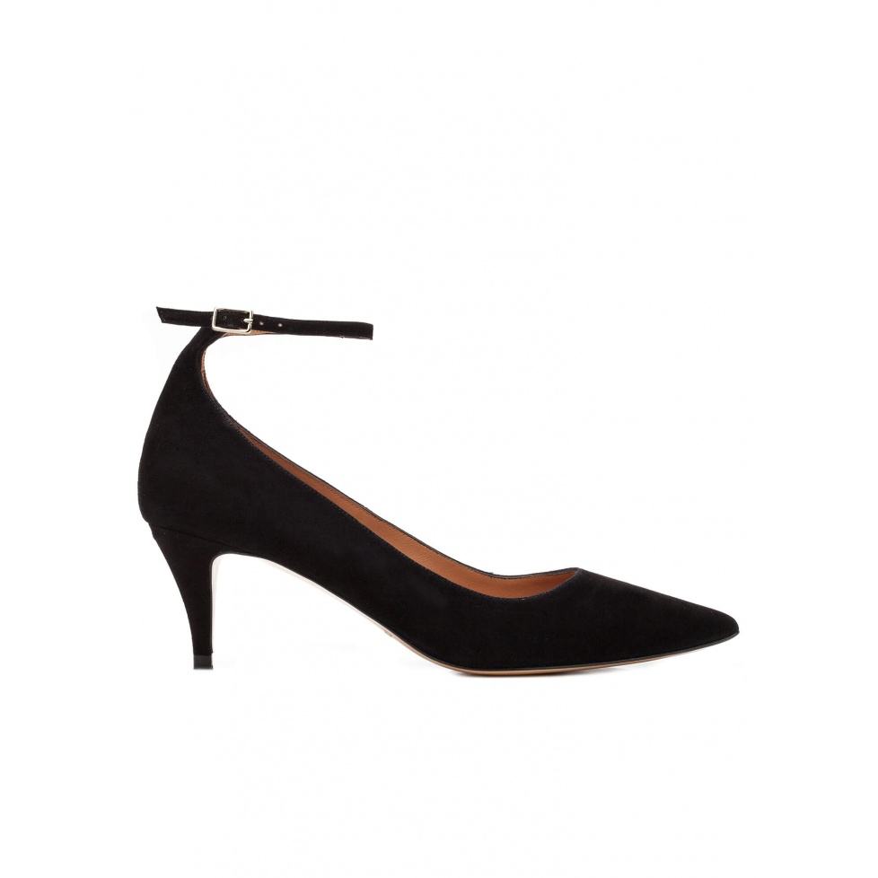 Ankle strap mid heel pumps in black suede