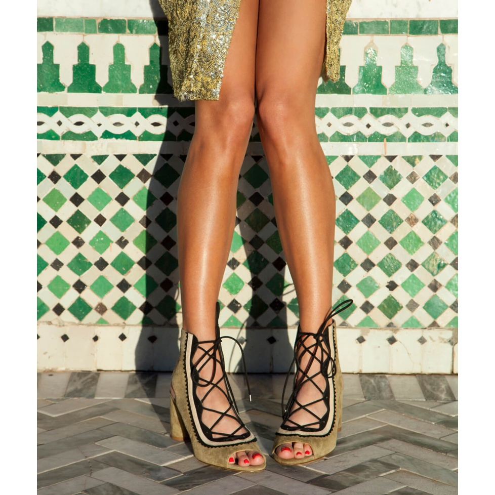 Lace-up mid block heel sandals in khaki and black suede