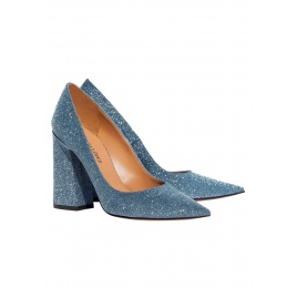 High block heel pumps in blue glitter Pura López